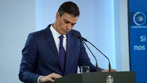 Pedro Sánchez, el pasado martes, en la rueda de prensa que anunció que no prorrogará el estado de alarma el 9 de mayo.