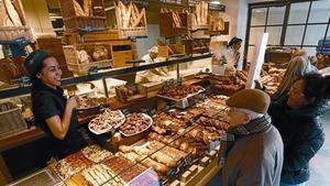 Una panadería de la cadena barcelonesa L'Obrador del Molí, en diciembre del 2011.