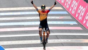 Jan Tratnik, en el momento de ganar la 16ª etapa del Giro.