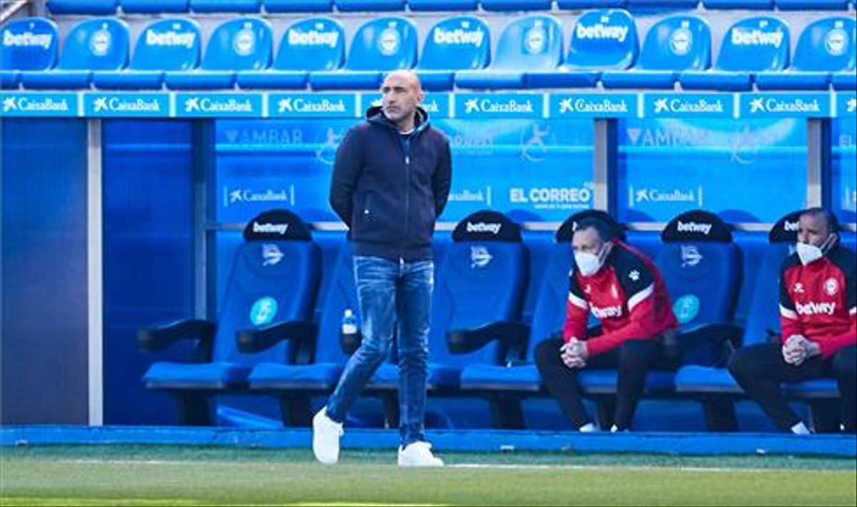 Abelardo, en un momento del partido que el Alavés disputó este domingo ante el Celta