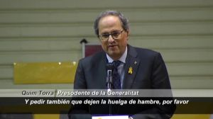 Torra i els expresidents del Govern i del Parlament demanen posar fi a la vaga de fam