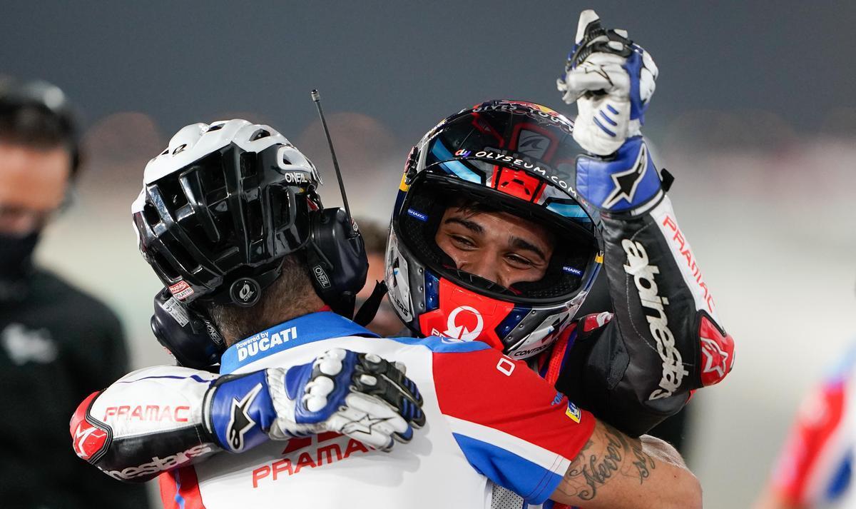 El madrileño Jorge Martín (Ducati) celebró, ayer, su primera 'pole' en MotoGP.
