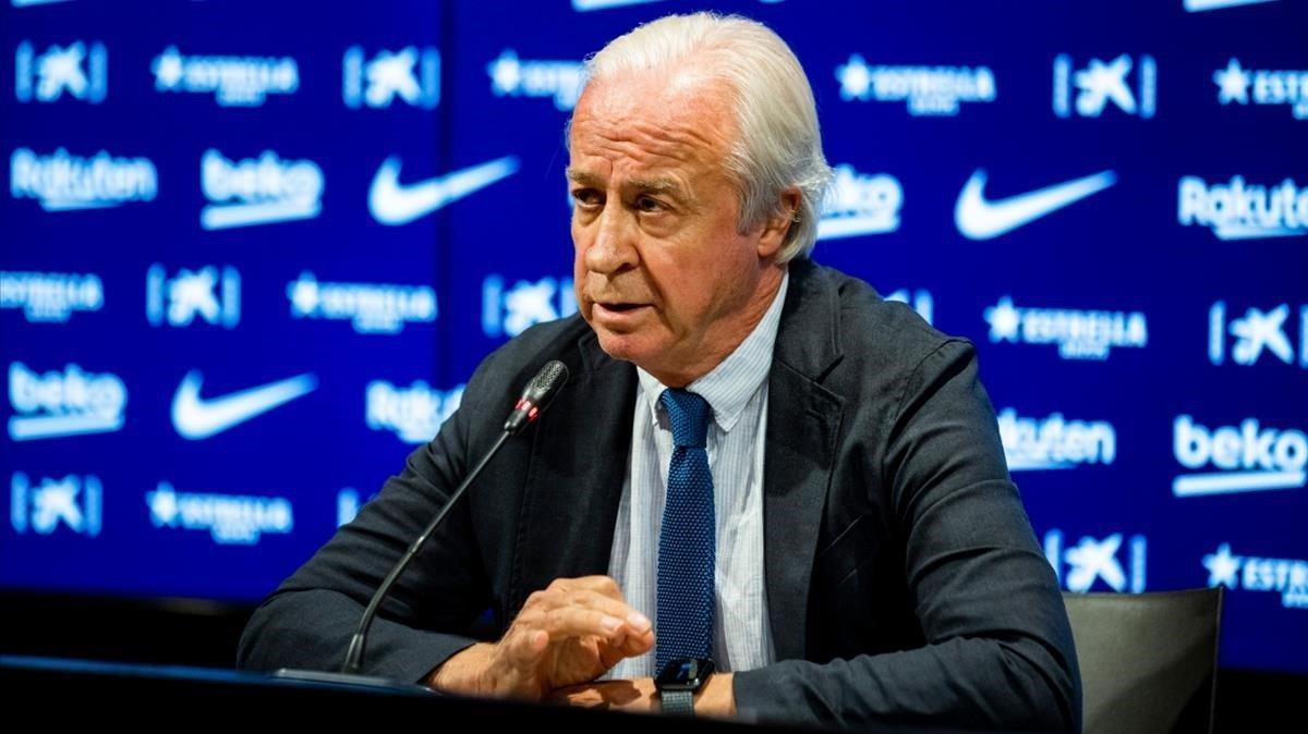 Carles Tusquets, durante su comparecencia en la sala de prensa del Camp Nou.