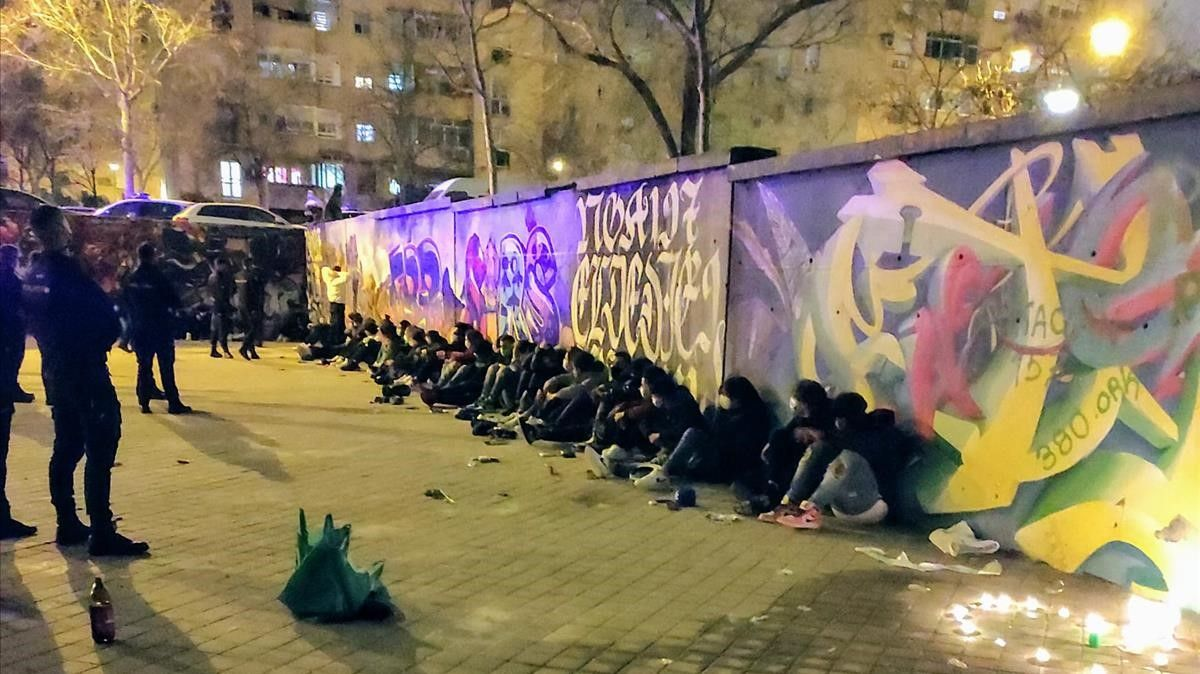 Redada policial contra bandas latinas en Madrid.