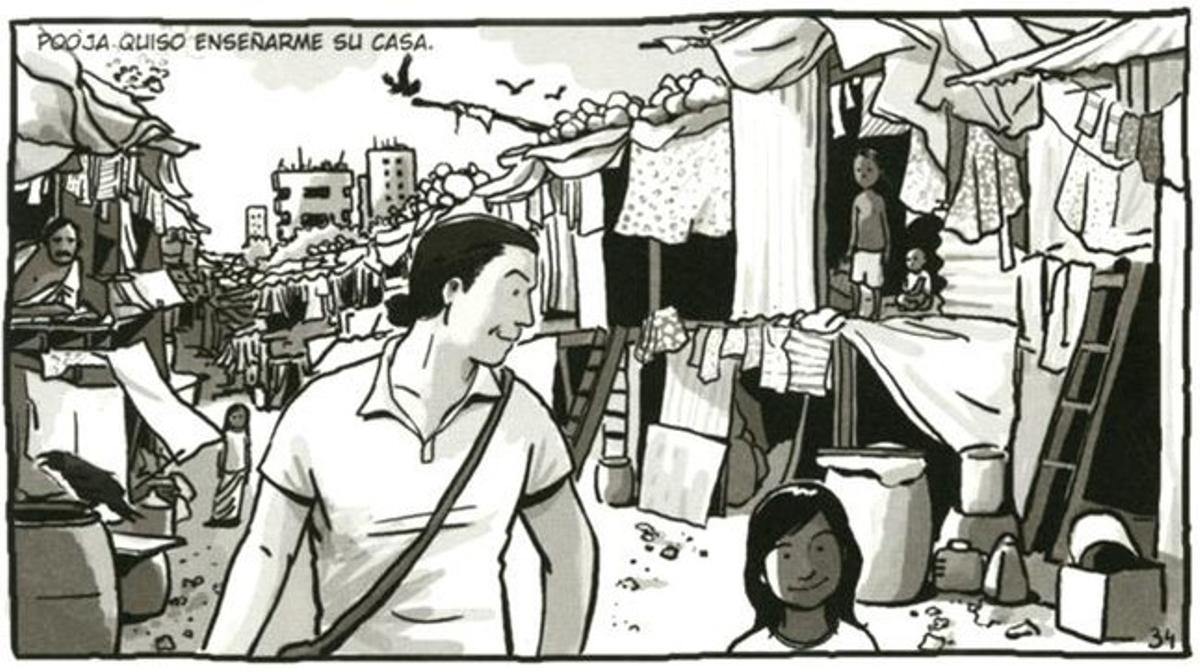 Visita a un 'slum' de Jaume Sanllorente, en una viñeta de 'Sonrisas de Bombay'.
