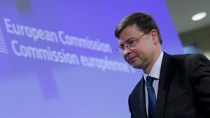Valdis Dombrovskis, comisario europeo del Euro y Diálogo Social.