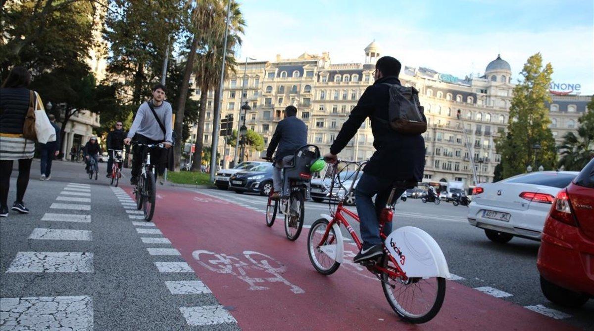 Carril bici muy transitado en Barcelona.