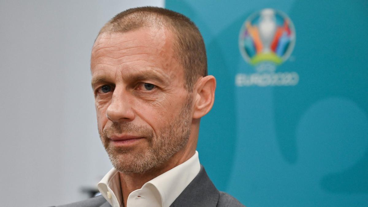 Aleksander Ceferin, en un acto de la UEFA durante la Eurocopa 2021.