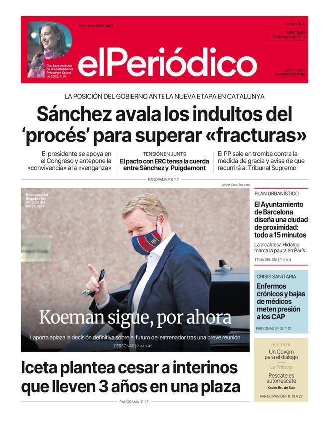 La portada d'EL PERIÓDICO del 26 de maig del 2021
