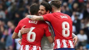 Celebración del gol en el Atlético de Madrid