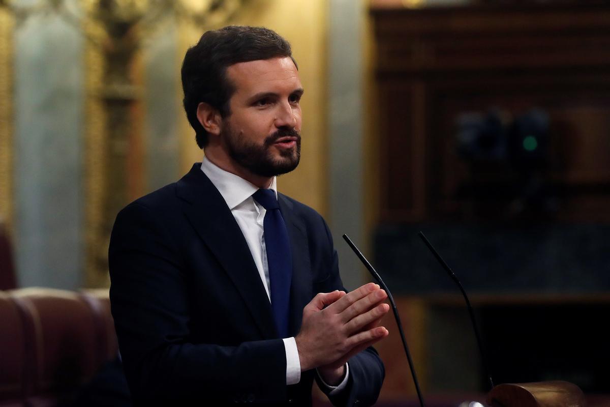 Pablo Casado, este miércoles, durante el debate en el Congreso.