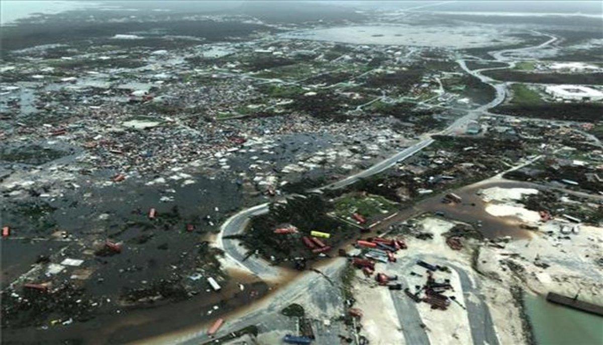 Imagen aérea de las Islas Ábacoen Bahamas, totalmente destruidas por el huracán Dorian.