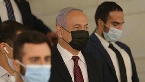 El primer ministro israelí, Binyamin Netanyahu, a su llegada este miércoles a la Knesset.