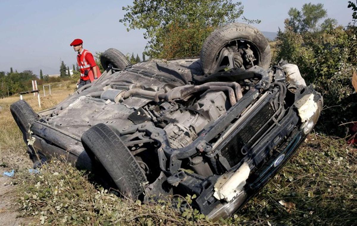 Accidente de tráfico en Navarra donde fallecieron dos jóvenes.