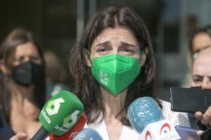 La ministra de Justicia, Pilar Llop, atiende a la prensa este lunes en Castrillón (Asturias).