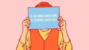 Ilustración del Cómic Barcelona, anunciando su aplazamiento al 2021.