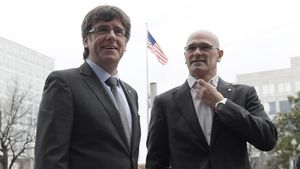 Carles Puigdemont y Raül Romeva, durante una visita que hicieron a Washington, en marzo.