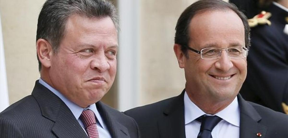 El rey Abdalá de Jordania y François Hollande, hoy en París.