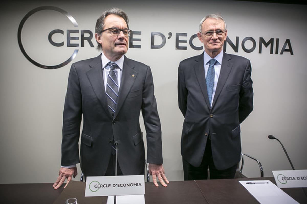 Artur Mas y Antón Costas, en un acto del Cercle d'Economia.