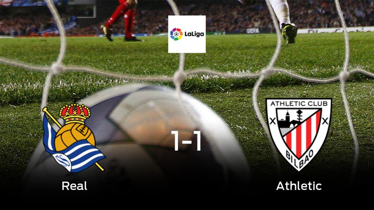 La Real Sociedad y el Athletic empatan 1-1 y se reparten los puntos