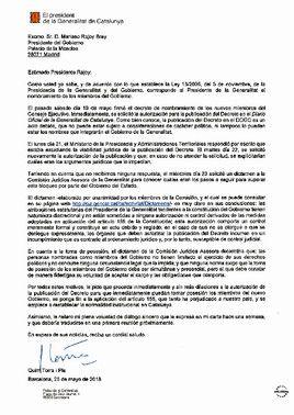 La carta del 'president' Torra a Rajoy