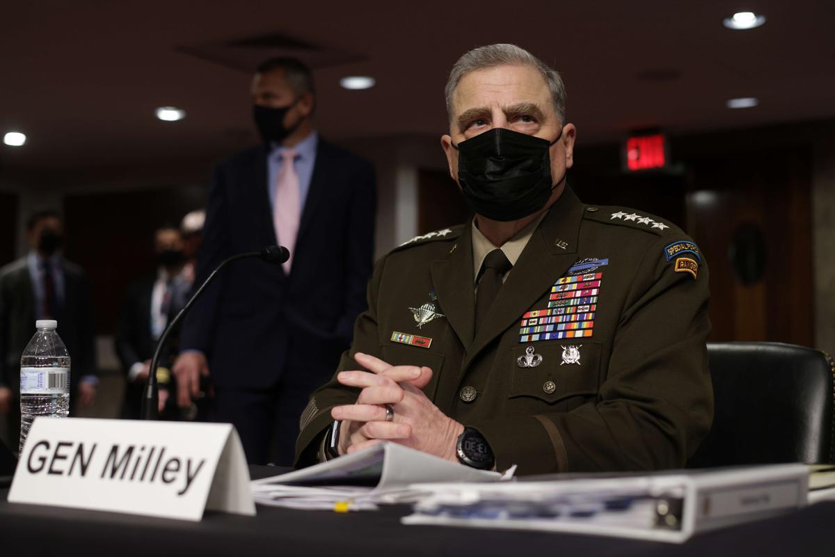 El jefe del Estado Mayor del Ejército de Estados Unidos, el general Mark Milley, este martes en comité del Senado.