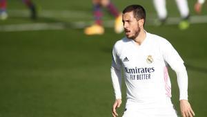 Hazard, en el duelo del Madrid contra el Levante en Valdebebas.