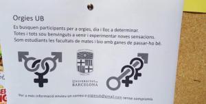 Así es el cartel que invita a participar en una orgía colgado en los paneles de la facultad de Matemàtiques de la UB