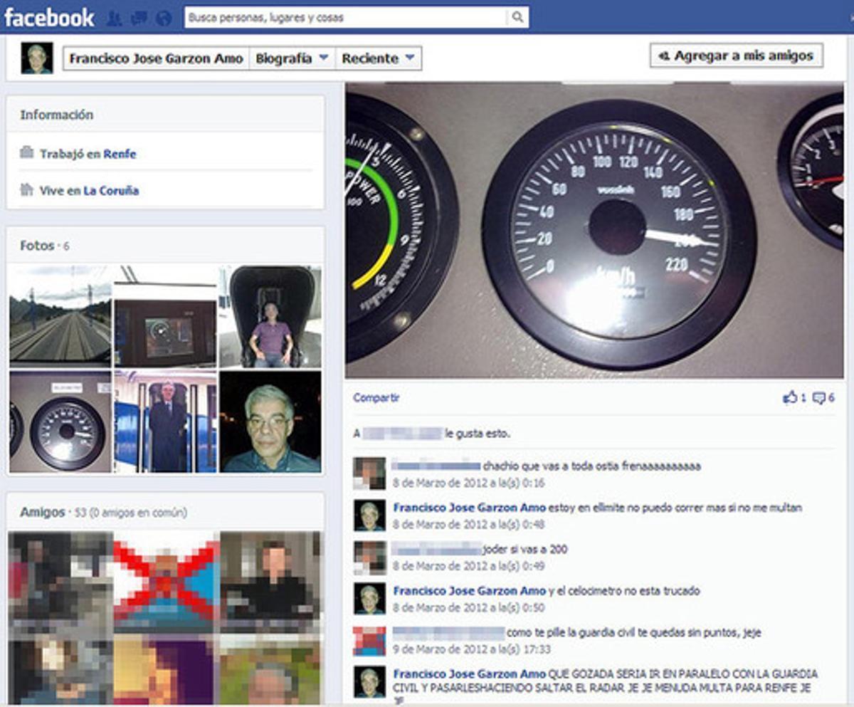 Captura del perfil de Facebook de Francisco José Garzón Amo, maquinista del tren accidentado en Santiago.