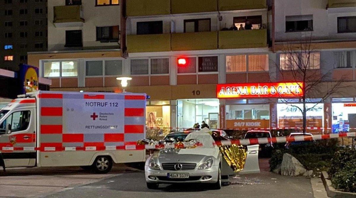 El bar Arena, de Hanau, tras el tiroteo de este miércoles.