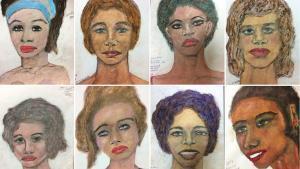 Dibujos de algunas de las víctimas sin identificar de Samuel Little, el mayor asesino en serie de EEUU.