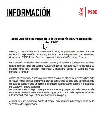 Renuncia de José Luis Ábalos a la Secretaría de Organización del PSOE (12/07/2021)