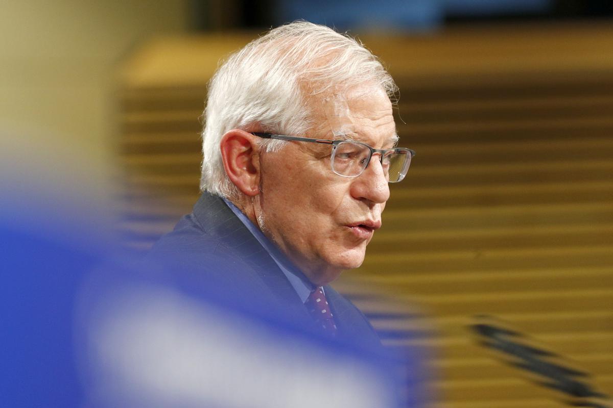 El alto representante para la política exterior y de seguridad común de la UE, Josep Borrell, durante una rueda de prensa en Bruselas.