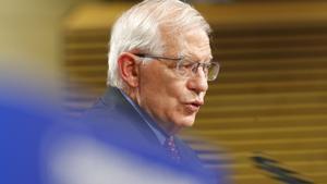 El alto representante para la política exterior y de seguridad común de la UE, Josep Borrell, durante su rueda de prensa de este miércoles en Bruselas.