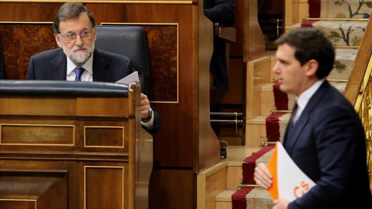 Mariano Rajoy y Albert Rivera, en un pleno del Congreso