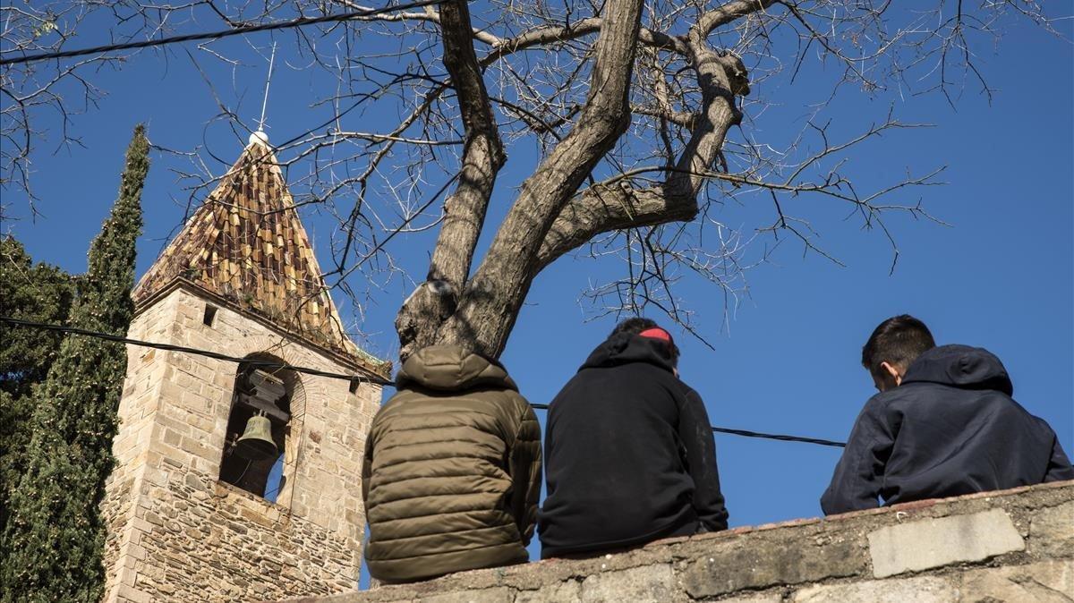 El campanario de la iglesia de Sant Genís, uno de los edificios más icónicos del barrio de Sant Genís dels Agudells