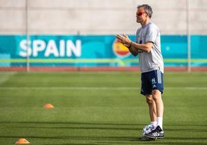 Luis Enrique, en un entrenamiento de la selección española en Las Rozas (Madrid).