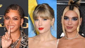 De izquierda a derecha, Beyoncé, Taylor Swift y Dua Lipa.