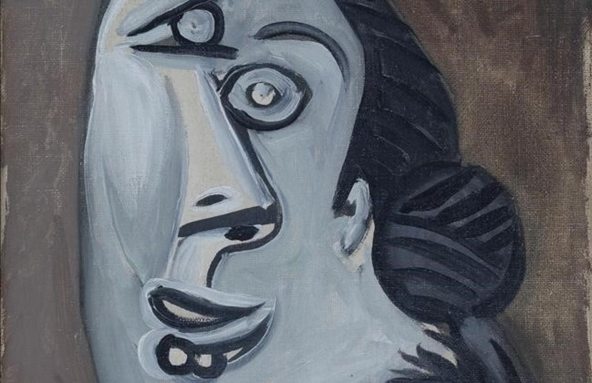 Fragmento de 'Cabeza de mujer' (1953) de Picasso, en la exposición 'Artistas revolucionarios' de la galería Mayoral.