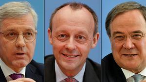 De izquierda a derecha, los candidatos para liderar el partido CDU alemán, Norbert Roettgen, Friedrich Merz y Armin Laschet.