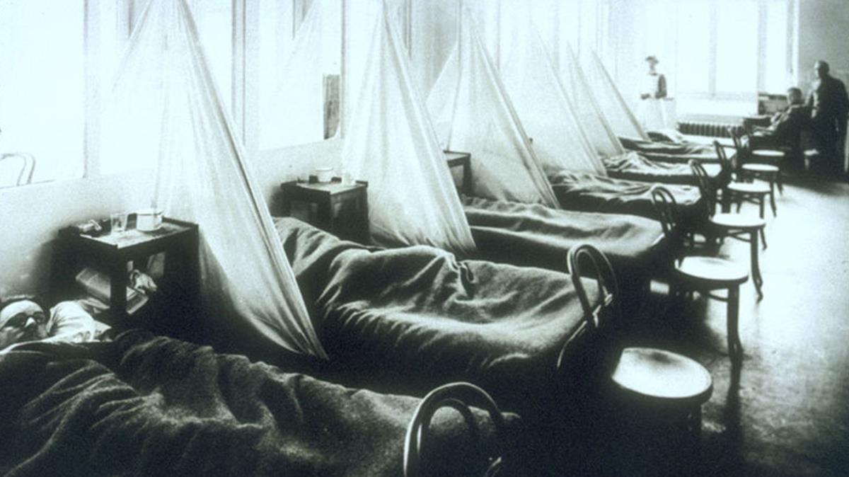 Hospital de campo estadounidiense en Aix-Les-Bains (Francia) durante la gripe pandémica de 1918.
