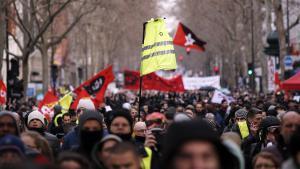 Manifestación celebrada en París (Francia) contra la reforma del sistema de pensiones.