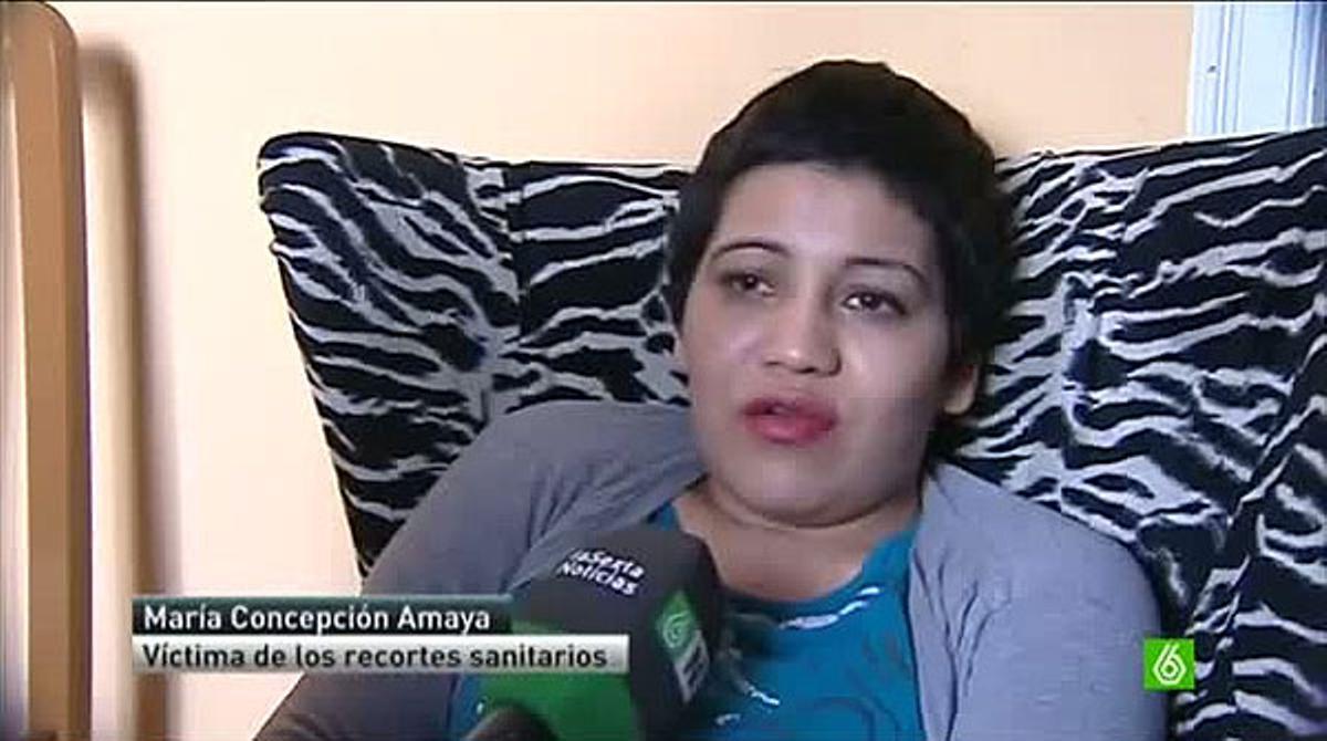 La hondureña María Concepción Amaya Guzmán, que ha recibido el alta forzosa en el Hospital General de Valencia tras una operación de cráneo al descubrirse que carecía de papeles