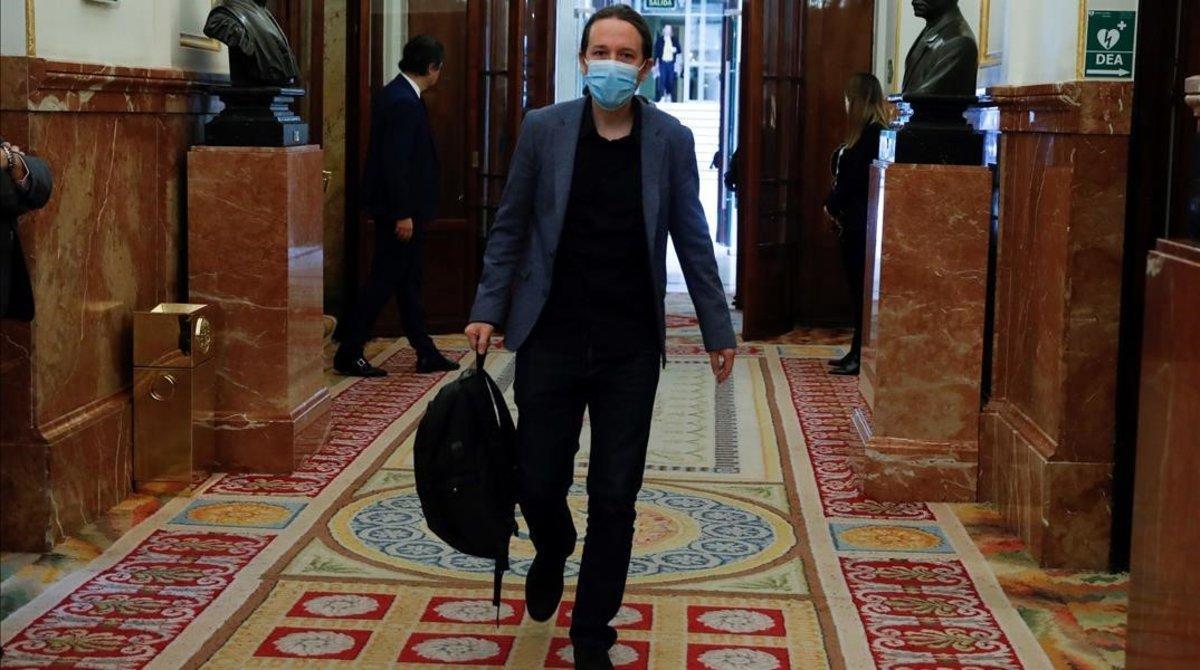 El vicepresidente segundo, Pablo Iglesias, a su llegada a unpleno del Congreso.