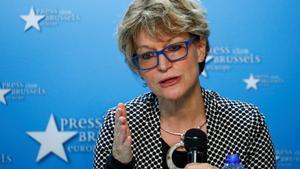 Agnes Callamard en una conferencia de prensa en diciembre del 2019 en Bruselas.