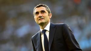 Valverde, en el partido de este martes en Vigo.