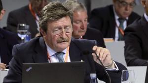 Juan Luis Larrea durante la reunión de la junta en fue elegido presidente en funciones de la RFEF.