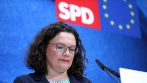 La líder socialdemócrata alemana, Andrea Nahles, tras las elecciones europeas del 2019.