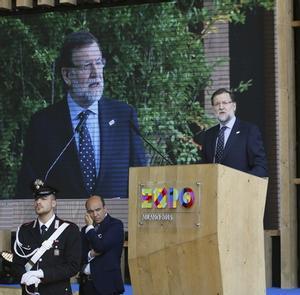 Rajoy, este lunes, durante la visita que ha hecho a la Expo de Milán, al celebrarse en esta muestra el Día de España.