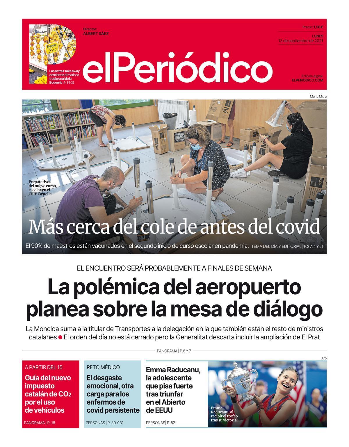 La portada de EL PERIÓDICO del 13 de septiembre del 2021